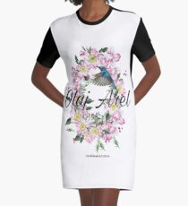 Olaj Arel Flores Graphic T-Shirt Dress