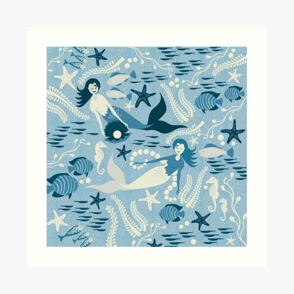 Mermaid pearls Art Print