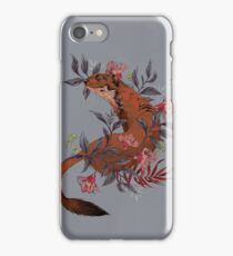 Stoat In Folky Foliage iPhone Case/Skin