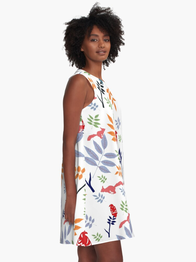Alternate view of Yggdrasil folk art A-Line Dress