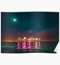 Fireworks Over Lake Grapevine Poster