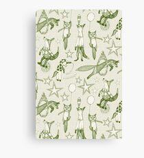 foxy circus green ivory Canvas Print