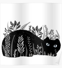 Garden Cat in Black and White Poster