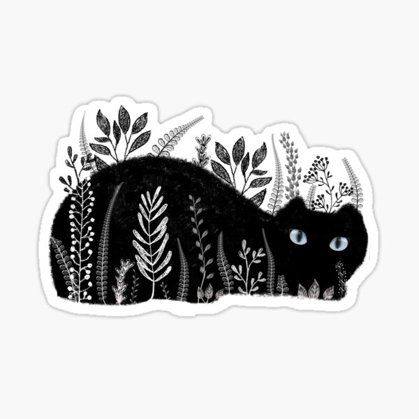 Garden Cat in Black and White Sticker