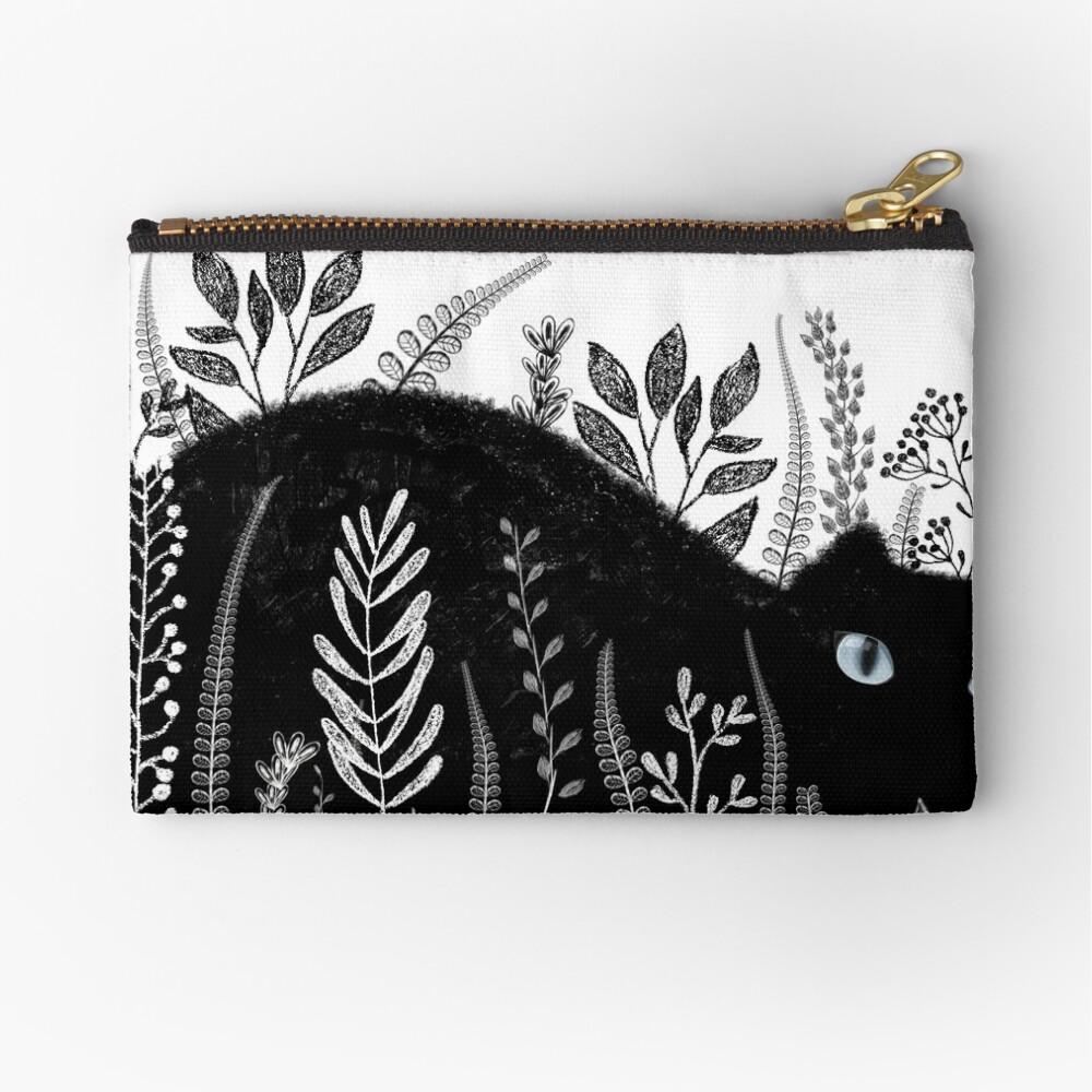 Garden Cat in Black and White Zipper Pouch