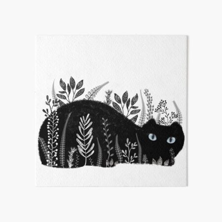 Garden Cat in Black and White Art Board Print