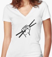 Drummer drumsticks Women's Fitted V-Neck T-Shirt