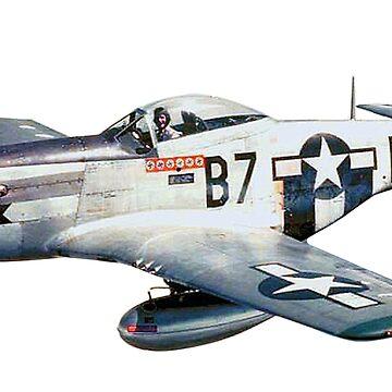 MUSTANG, WAR BIRD, Fighter Aircraft, WWII, Combat Aircraft, USAAF, P-51 Mustang of 361st Fighter Group, 1944 by TOMSREDBUBBLE