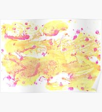 Very pale yellow abstract watercolor background Poster