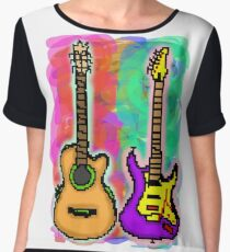 Pixel Guitars Women's Chiffon Top