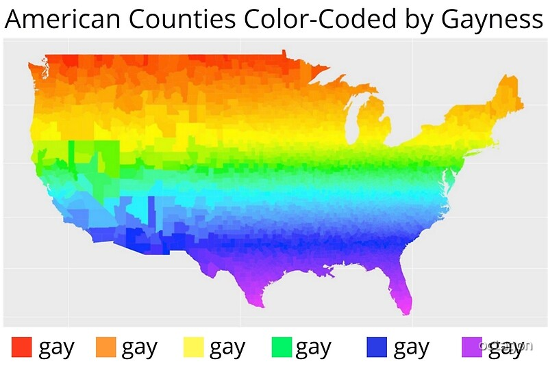 Map Of American Counties ColorCoded By Gayness Metal Prints By - Color coded map of us
