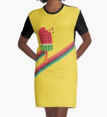 Fresh Watermelon Ice Pop Graphic T-Shirt Dress