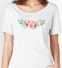 Bouquet OF flowers PINK AND ORANGE - PAINTED - watercolor Women's Relaxed Fit T-Shirt