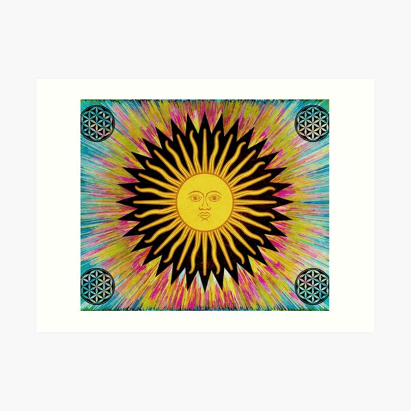 Psychedelic Sun Star / Bohemian Zen Hippie Festival  Art Print