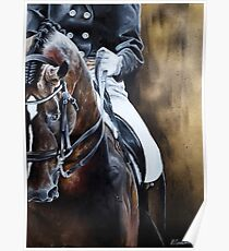 Dressage Horse on Gold Poster