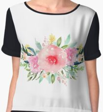 Bouquet OF flowers PINK WITH green - PAINTED - watercolor Women's Chiffon Top