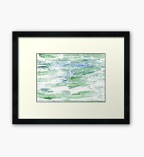 Sea Foam Green abstract watercolor background Framed Print