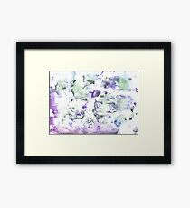Azureish white abstract watercolor background Framed Print