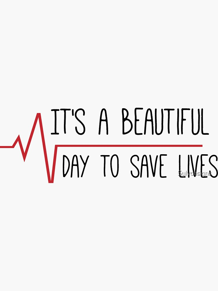 It's a Beautiful Day to Save Lives Grey's Quote by Sylvdesigns