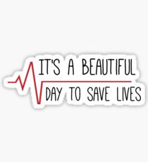 It's a Beautiful Day to Save Lives Grey's Quote Sticker