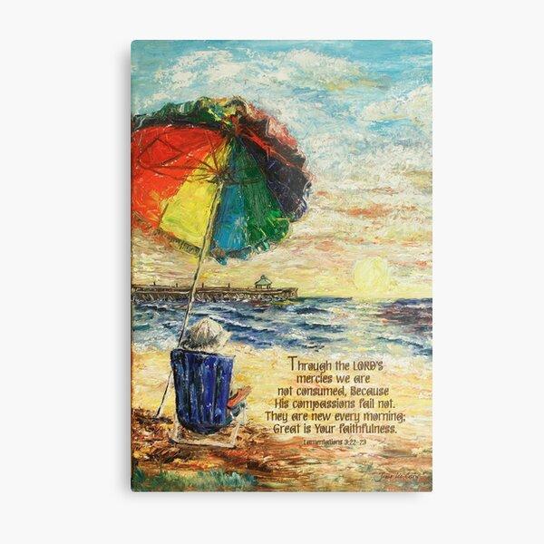 Umbrella Sunrise- Lamentations 3:22-23 Metal Print
