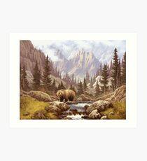 Grizzly Bear Landscape Art Print