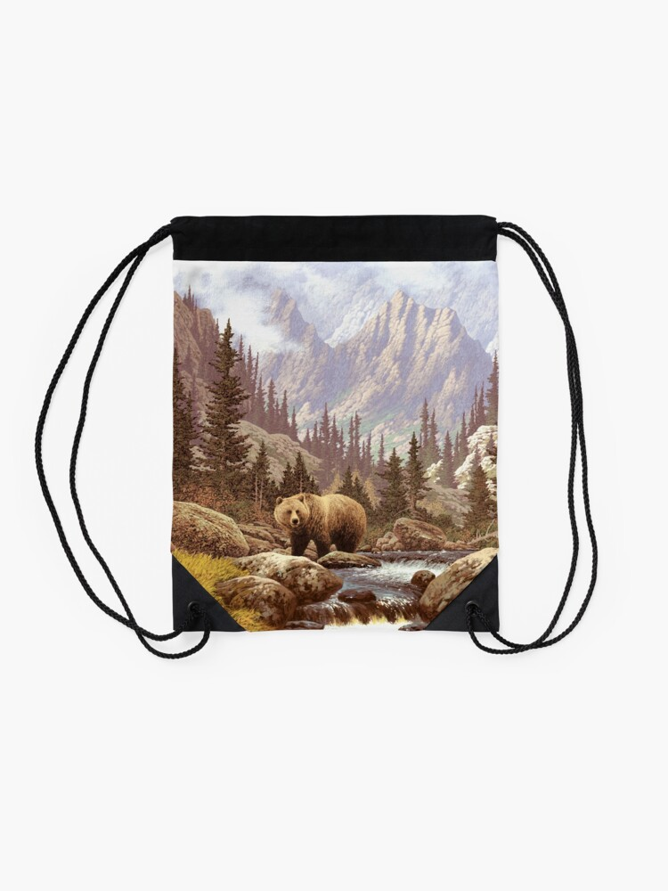 Alternate view of Grizzly Bear Landscape Drawstring Bag