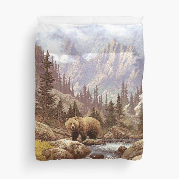 Grizzly Bear Landscape Duvet Cover