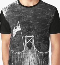 Patriotic Suspension Bridge (B&W) Graphic T-Shirt