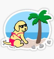 Yellow Labrador Bikini Girl Sticker