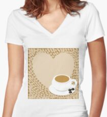 A heart with copy space and a cup with coffee beans Women's Fitted V-Neck T-Shirt