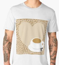 A heart with copy space and a cup with coffee beans Men's Premium T-Shirt
