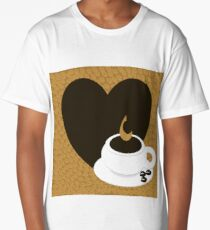 A heart with copy space and a cup with coffee beans Long T-Shirt