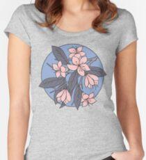 Sakura Branch Pattern - Rose Quartz + Serenity Women's Fitted Scoop T-Shirt