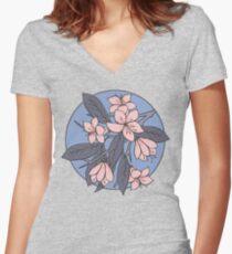 Sakura Branch Pattern - Rose Quartz + Serenity Women's Fitted V-Neck T-Shirt