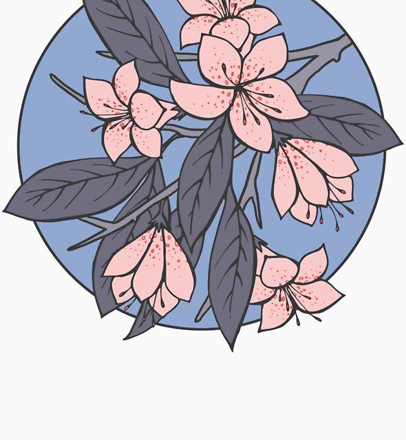 Sakura Branch Pattern - Rose Quartz + Serenity by Olooriel