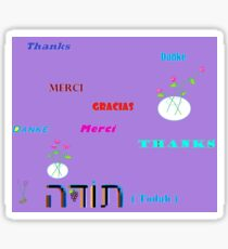 Thank you in various languages with lavender. Sticker