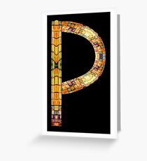"""ALPHABET - Stained Glass Letter """"P"""" Greeting Card"""