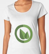 Two leaves in a circle emblem vector illustration Women's Premium T-Shirt