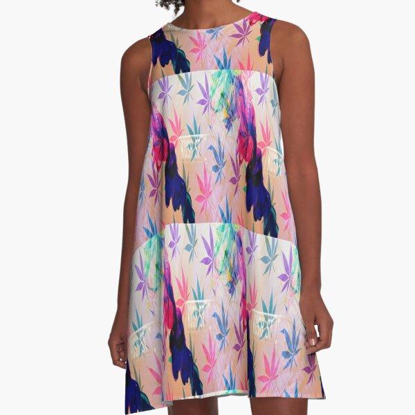 Kush Street - Blue Smoke A-Line Dress