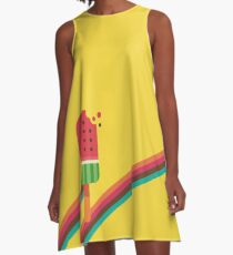 Fresh Watermelon Ice Pop A-Line Dress