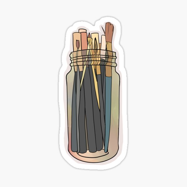 Tall Jar of Markers and Paint Brushes Sticker