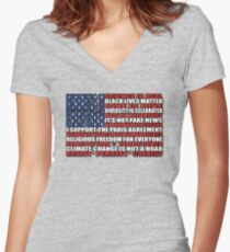 Political Protest American Flag Women's Fitted V-Neck T-Shirt