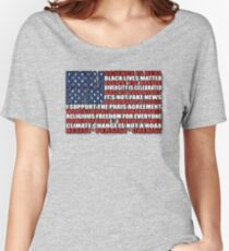 Political Protest American Flag Women's Relaxed Fit T-Shirt