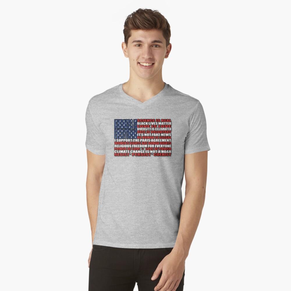 Political Protest American Flag Mens V-Neck T-Shirt Front