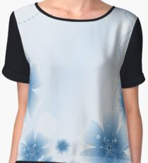 Beautiful floral ornament in blue color Chiffon Top