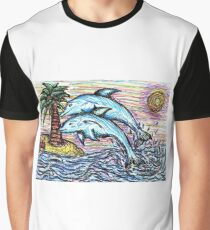 Dolphin Fineliner Drawing Graphic T-Shirt