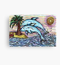 Dolphin Fineliner Drawing Canvas Print