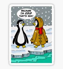Penguin in Heavy Coat Says It's Cold Sticker