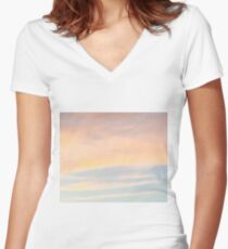 Gentle Sunset with Good Vibes Women's Fitted V-Neck T-Shirt